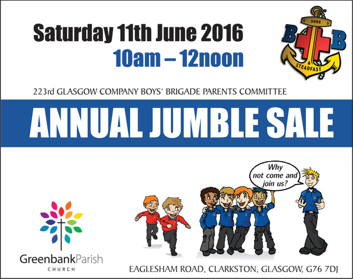 Boys' Brigade ANNUAL JUMBLE SALE - Greenbank Church Clarkston