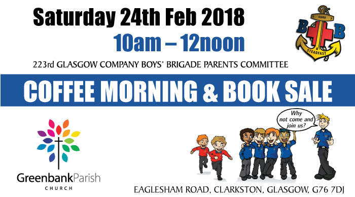 Boy's Brigade Coffee Morning and Book Sale in Clarkston East Renfrewshire